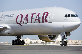 Qatar Airways B777  taxi en DOH (Qatar Airways)