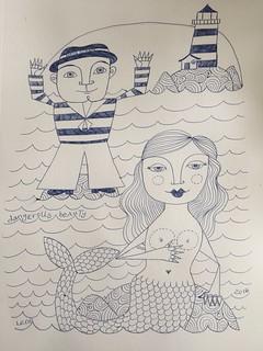 10 - Dangerous Beauty - Mermaid - Biro - Art Journal Page