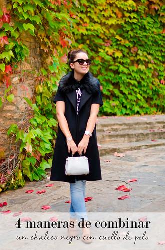 4 maneras de combinar un chaleco negro con cuello de pelo
