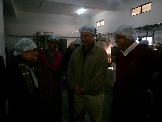 6.11th Feb_Ranjit Barthakur, S. Ramadorai, Mala Ramadorai and Biswanath Sinha from Tata Trusts at YVU Milk Processing Unit, Thaubal, Manipur