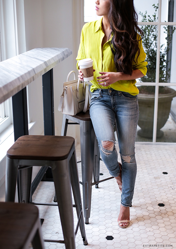 neon equipment shirt rag bone petite jeans casual outfit