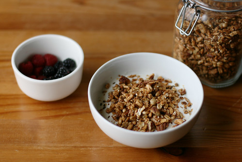Favorite Granola with Puffed Grains, Pecans, Maple Syrup, and Honey