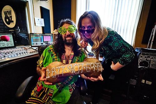 Johnny Woodstock with Elaina Thompson and the big gold phone! Photo by Eli Mergel