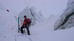 Przejscie przez labirynt seraków na lodowcu Vadret Pers, podejscie na Piz Palu - Piotr