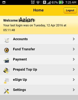 Maybank2u Mobile App UI