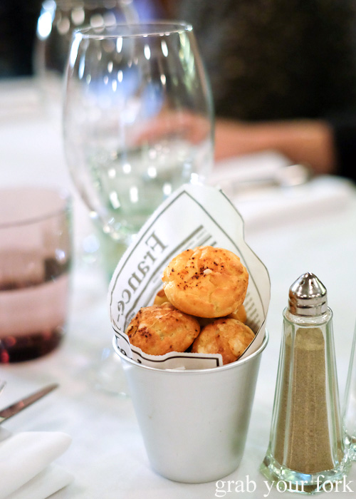 Complimentary gougeres at Bistrot Gavroche in Chippendale