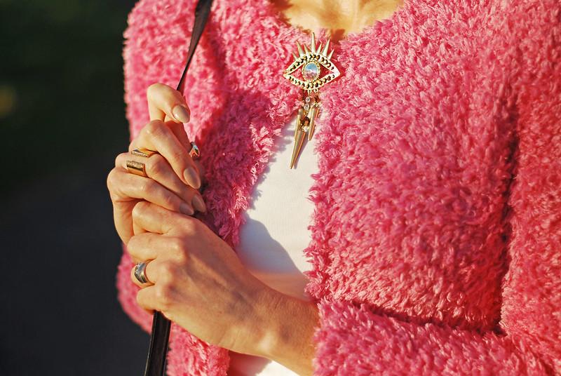 Spring style: Fluffy pink cardigan, evil eye brooch