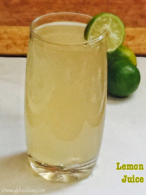 Lemon Juice Recipe for Babies, Toddlers and Kids