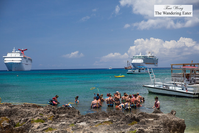 Group of tourists about to snorkel at George Town, Grand Cayman