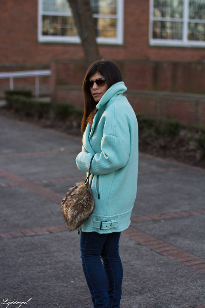 mint cocoon coat, white sweater, denim, fur bag-4.jpg