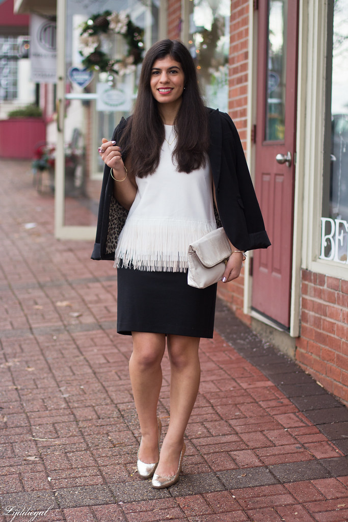 white fringe hem top, black skirt, silver pumps-1.jpg