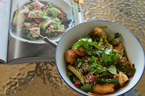 Fish stir-fry with ginger and chilli