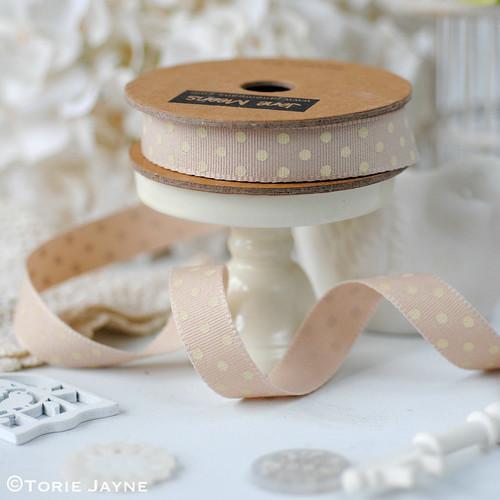 Caramel & Cream Spotty Ribbon