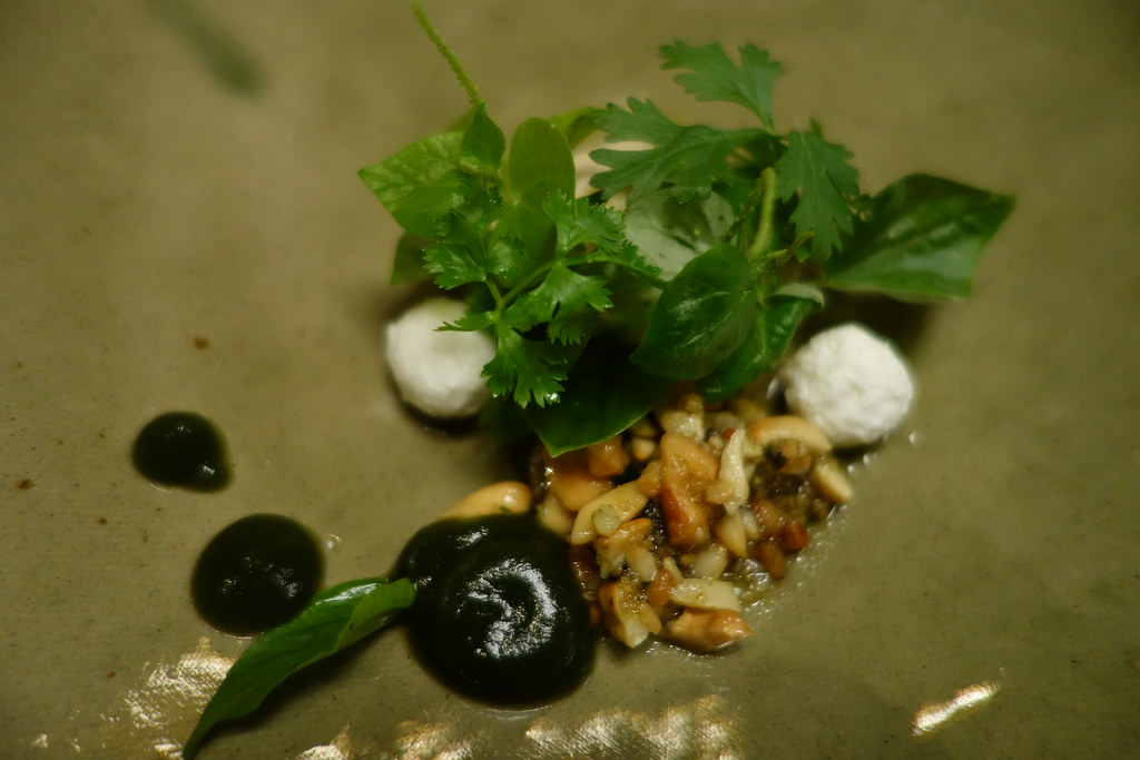 Tiger's Eye, Phnom Penh: White Onion Panacotta, Caramlised Cashew Nut Pesto, Herbs & Goats Cheese
