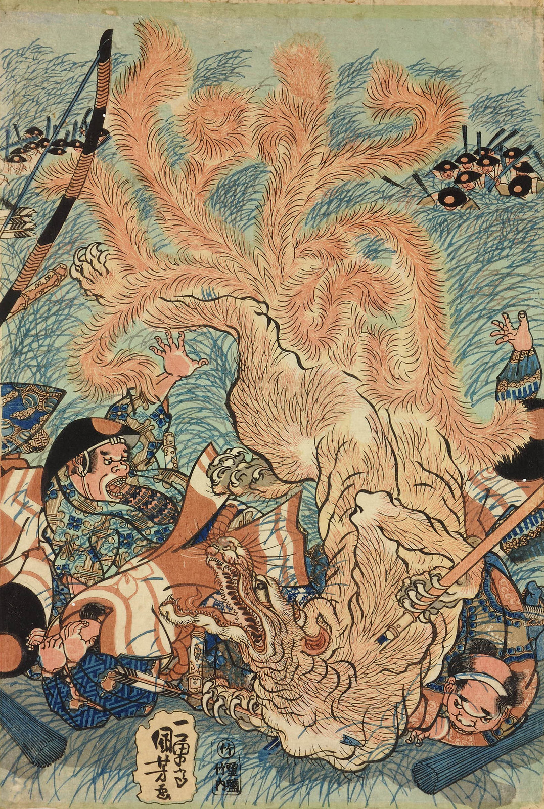 Utagawa Kuniyoshi - The Nine-tailed Fox slain on Nasu moor, Shimotsuke, 1834 (middle panel)