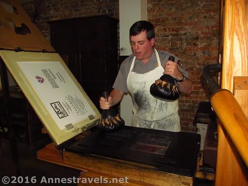 Printing press demonstration at Franklin Court, Independence National Historic Park, Philadelphia, Pennsylvania