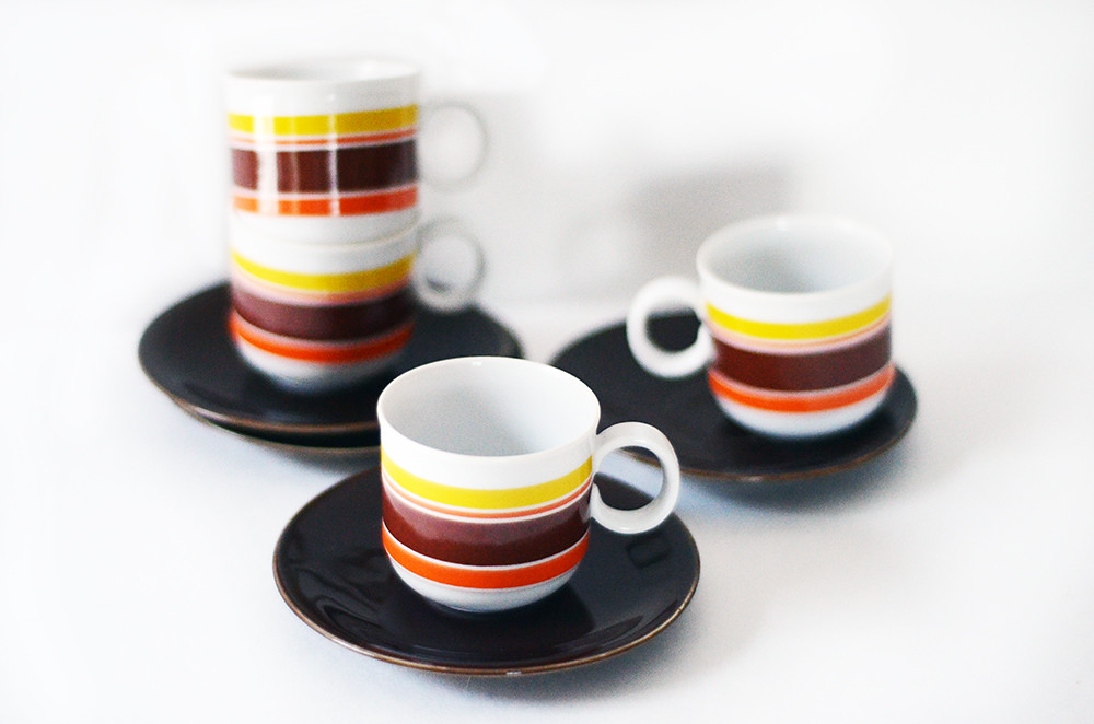 Four Vintage Espresso Cups and Saucers