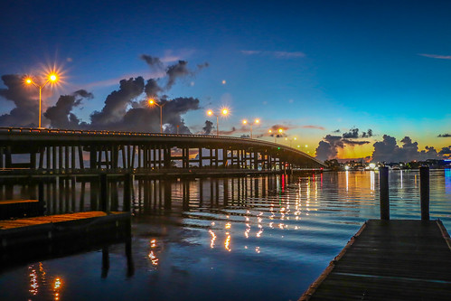 park bridge seascape water night outside outdoors lights cityscape florida photograph causeway southfork stlucieriver palmcity usacanon leightonpark