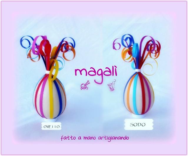 uova con strisce arcobaleno e riccioli