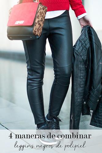 4 maneras de combinar leggins de polipiel negros
