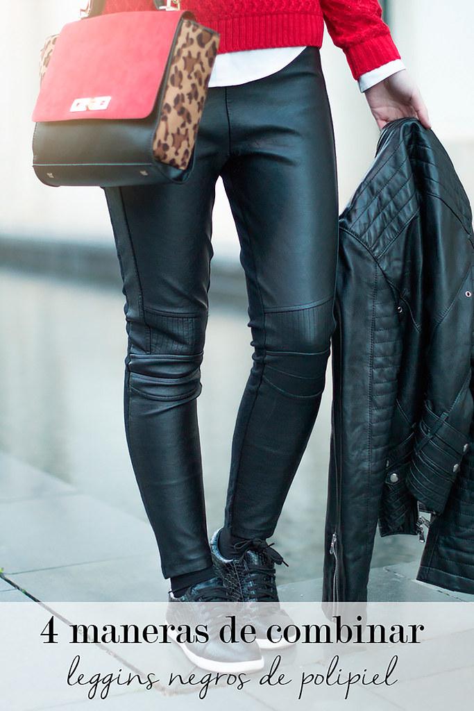 4 maneras de combinar leggins negros de polipiel