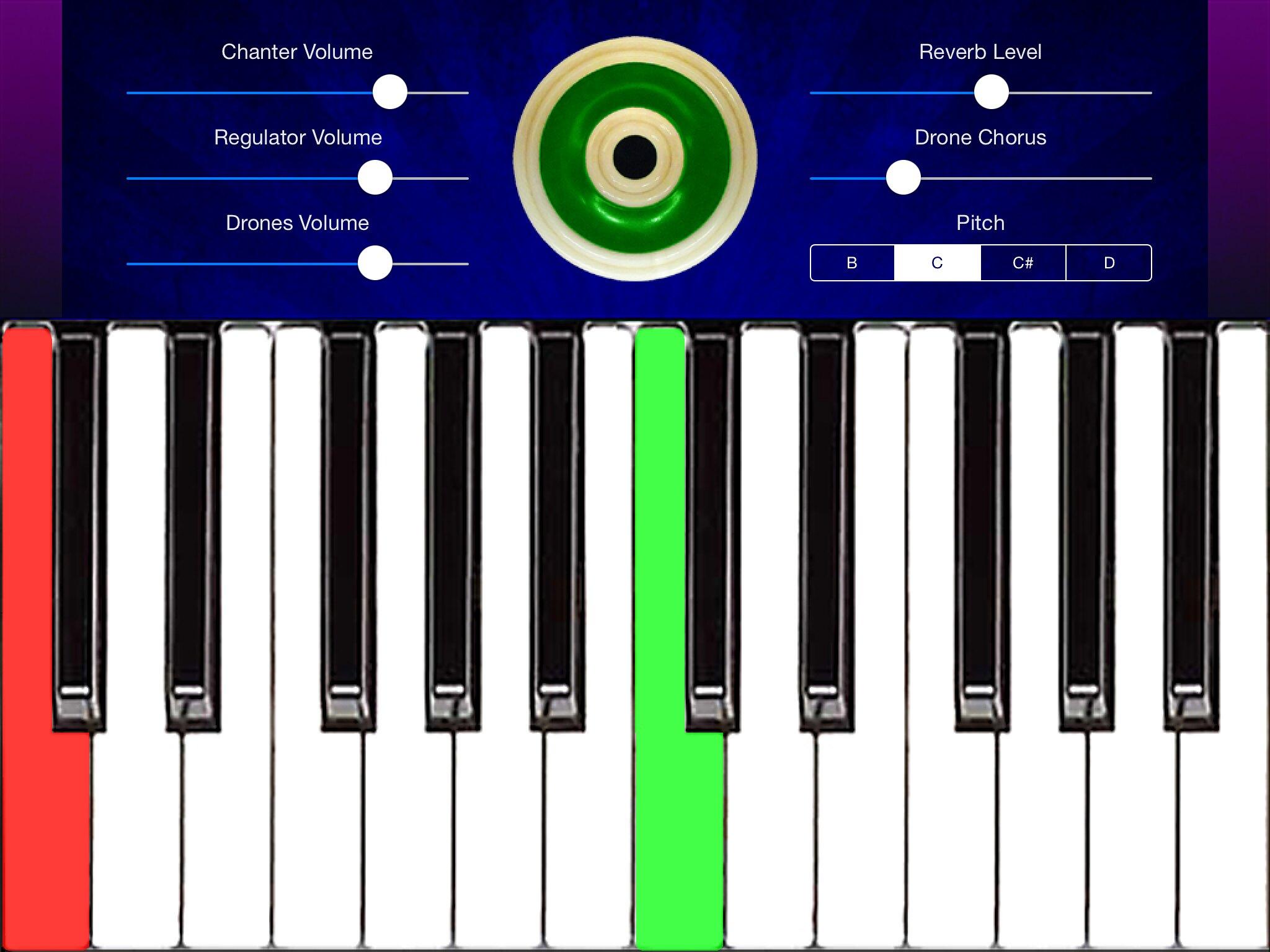 UilleannKeys iPad Main Screen