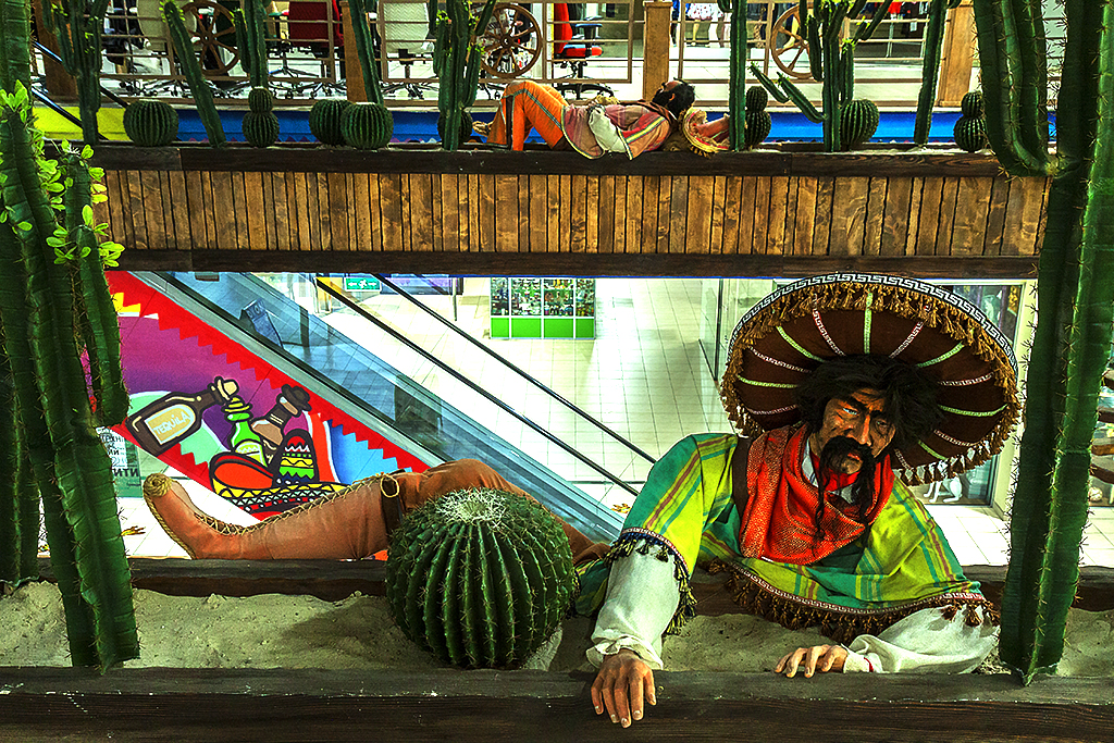 Two Mexican figures in Dream Town 2 Mall--Kiev 2
