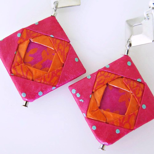 Mayumi Origami Jewelry - Mosaic Earrings