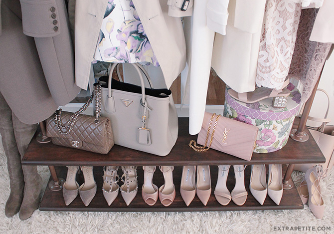 pink gray spring accesories_pumps sandals shoes and handbags