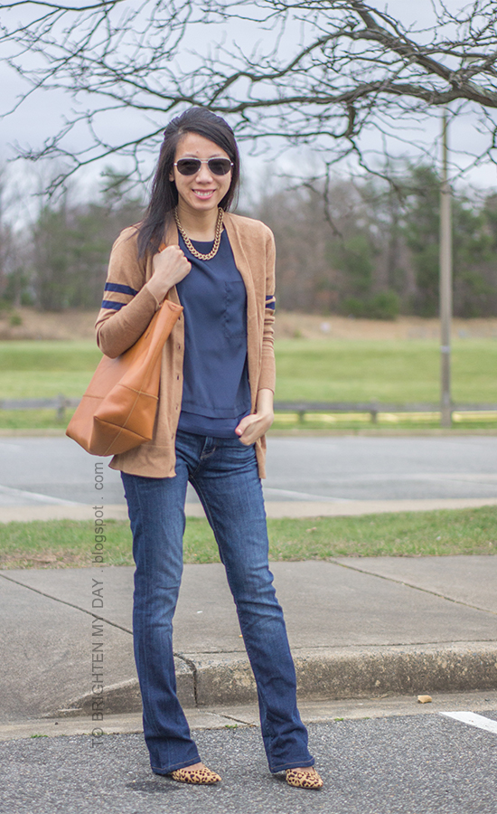 camel varsity cardigan, gold chain necklace, navy tee, jeans, leopard pumps, cognac brown tote