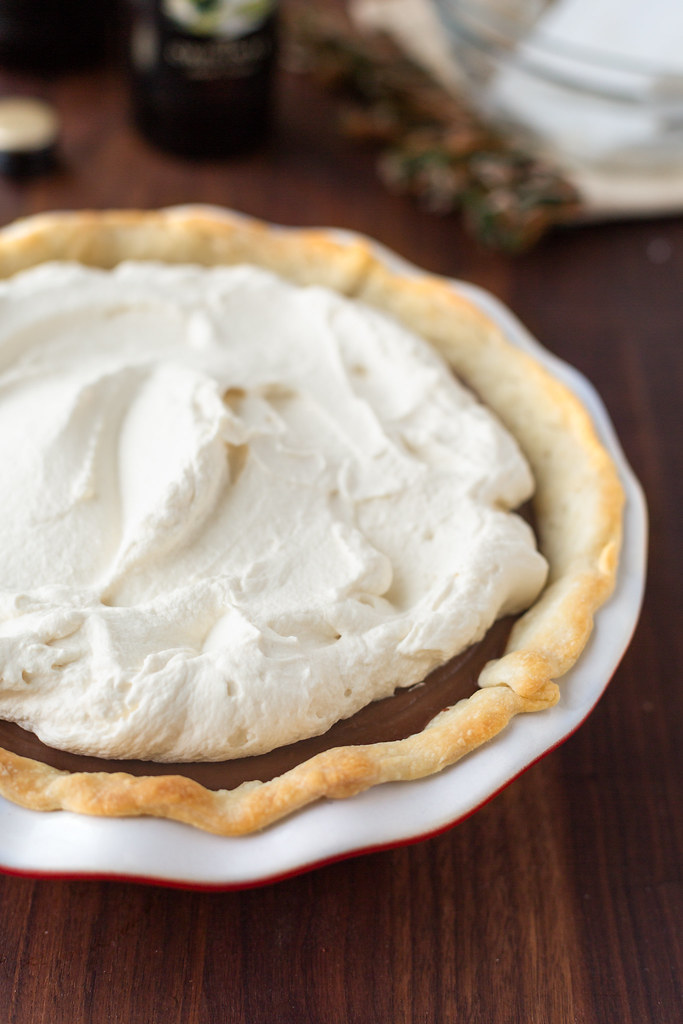 whipped cream topped chocolate pie