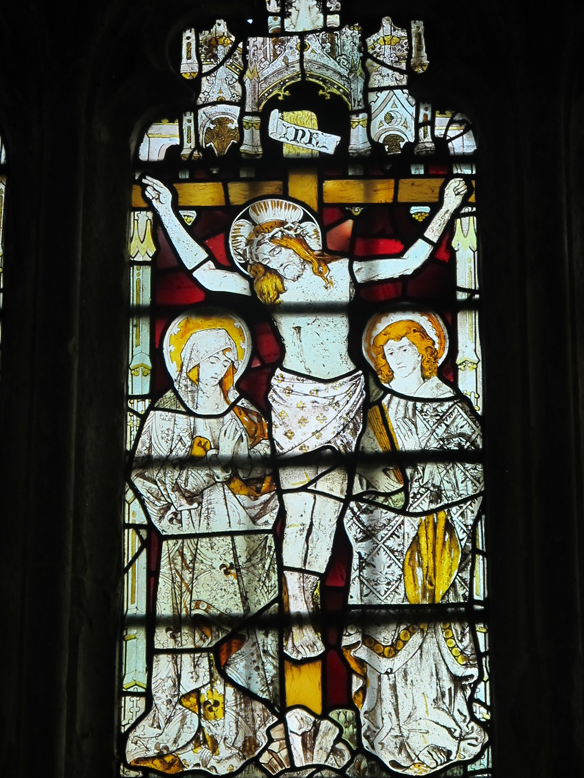 The Man Himself, stained glass window, St. Andrew's, Mottisfont SWC Walk 58 Mottisfont and Dunbridge to Romsey taken by Karen C.