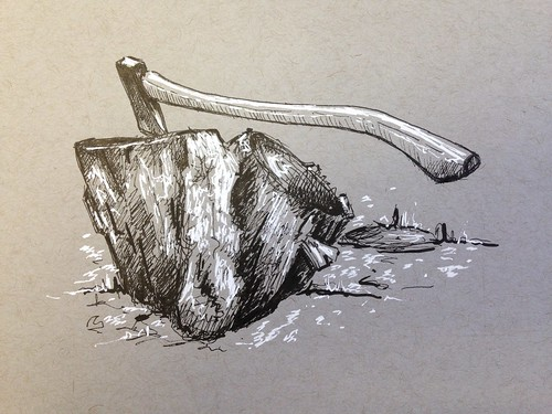 A sketch of my Norlund axe from a pic I took last year, cutting firewood in Cape Fair, Missouri.
