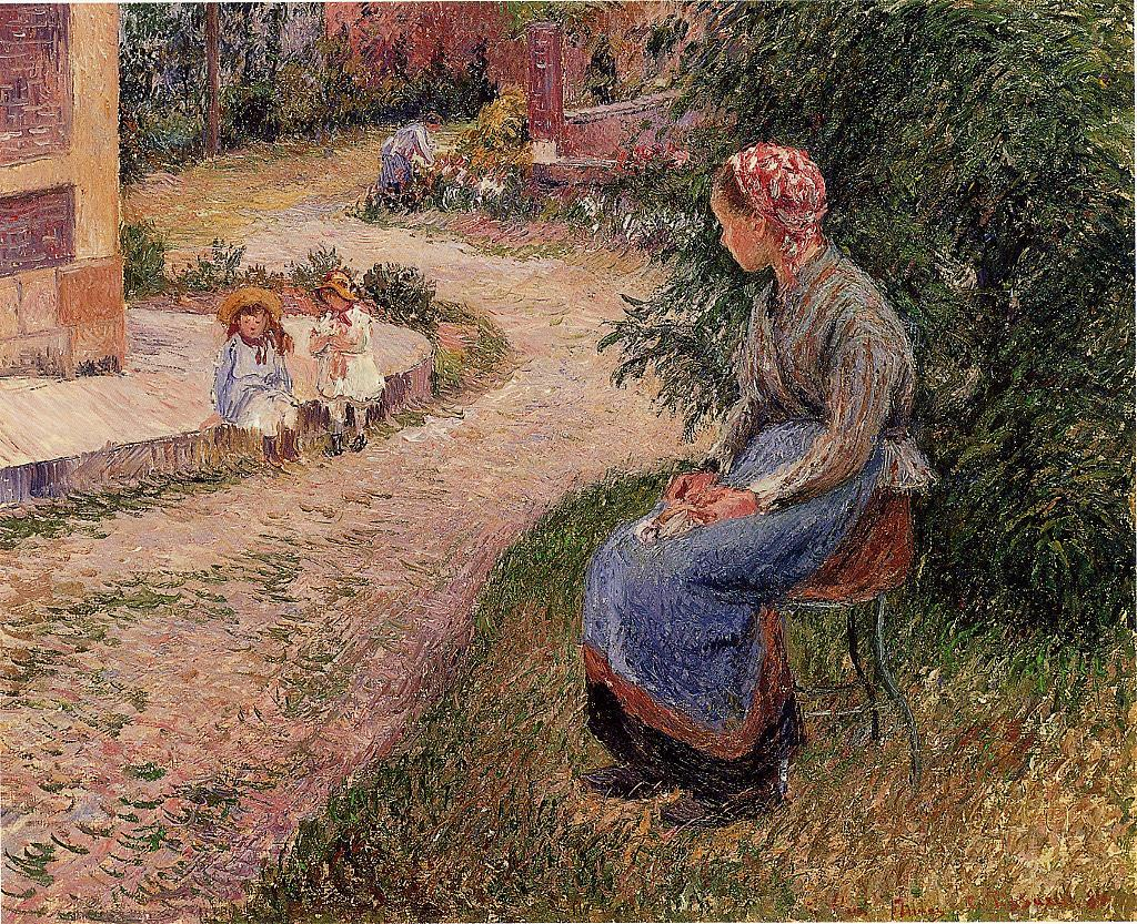 A Servant Seated in the Garden at Eragny by Camille Pissarro, 1884