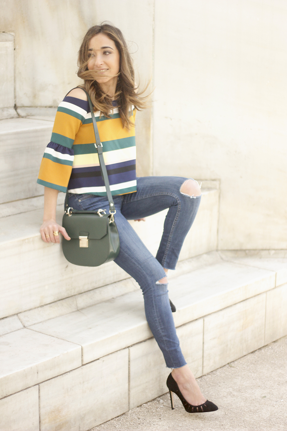 Off The Shoulder Top with stripes jeans heels accessories bag aristocrazy01