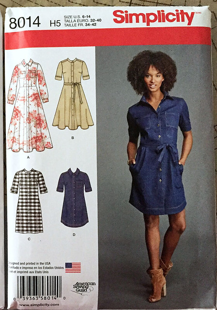 Simplicity 8014 denim dress pattern envelope