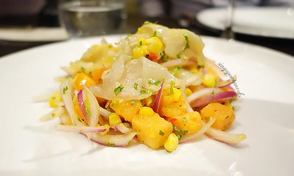 07 Seabass Ceviche, Red Onion, Corn, Cilantro, Lemon Juice