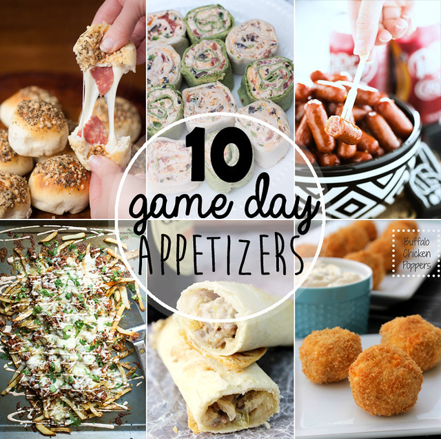 10 Game Day Appetizers collage.