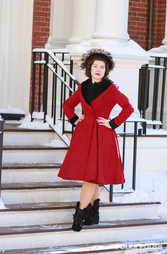 Hell Bunny Vivien coat in red with American Duchess Victoria boots make a retro 1950s outfit
