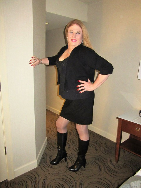 Black Boots, Longer skirt, sweater jacket top. Ready to do business this afternoon
