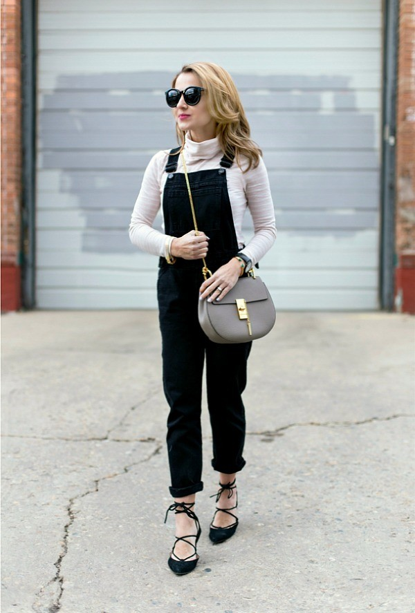 Overalls + Lace-up flats + Chloe shoulder bag