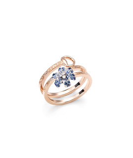 Gucci Flora ring in 18kt gold, diamond and blue sapphires