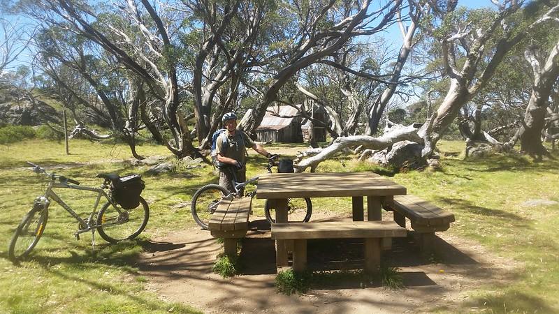 Picnic table at Wallace Hut