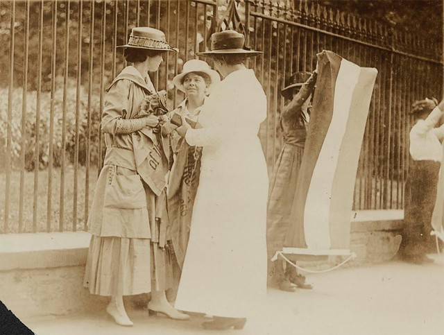 Here a policewoman (right) arrests Florence Youmans (left) of Minnesota and Annie Arniel of Delaware for refusing to give up their banners while picketing for women's voting rights outside the White House in Washington DC in June 1917.<br /> <br /> Arniel was one of the first six suffrage prisoners and served eight separate jail sentences for Watchfire demonstrations. Across the Atlantic in Britain, the Suffragette movement was also fighting for women's right to vote.<br /> <br /> This year's International Women's Day, celebrated on 8 March, is calling for quicker progress to achieve gender equality.