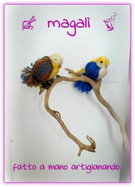 uccellini ciuffolotti in lana