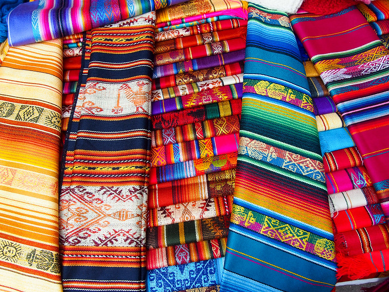 Textiles at the Otavalo market in Ecuador