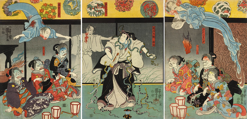 Utagawa Kuniyoshi - Orikoshi Masatomo (centre) (played by Bando Hikosaburo IV) is attacked by the ghost of Asakura Togo 1853