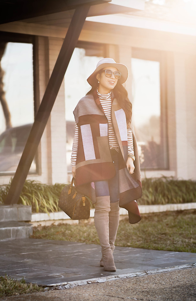 cute & little blog | petite fashion | colorblock cape, striped turtleneck, stuart weitzman highland topo suede otk boots, gray fedora hat, lv speedy 25 | fall winter outfit
