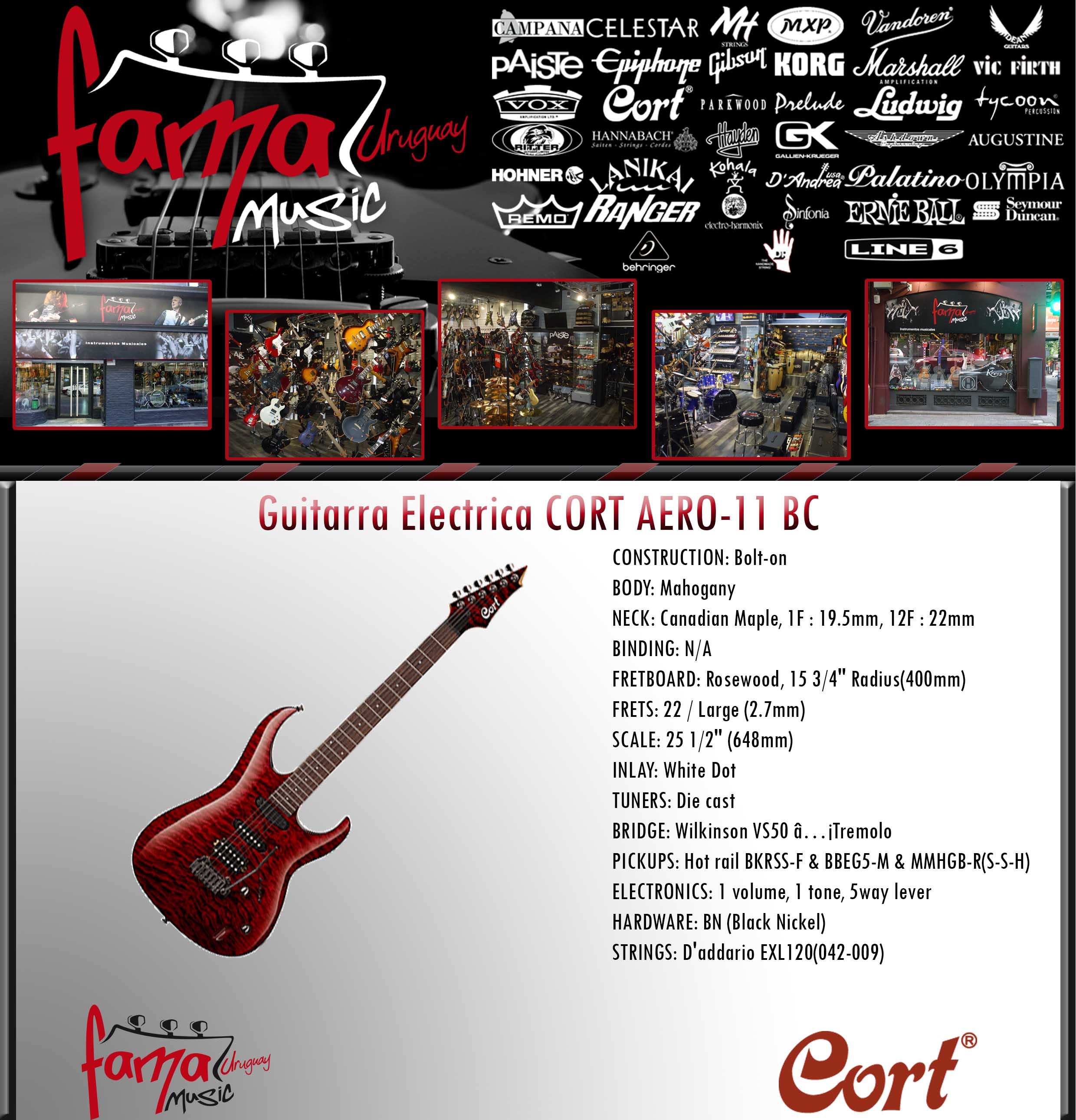 Guitarra Electrica CORT AERO-11 BC