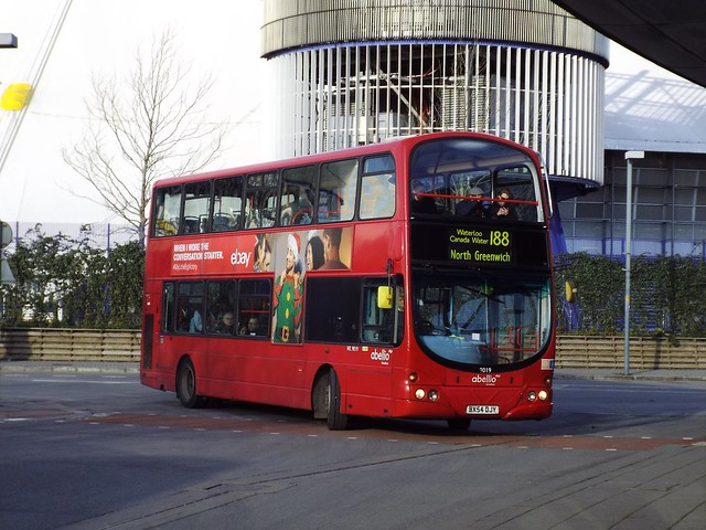 Abellio London 9019, BX54DJY at North Greenwich on route 188
